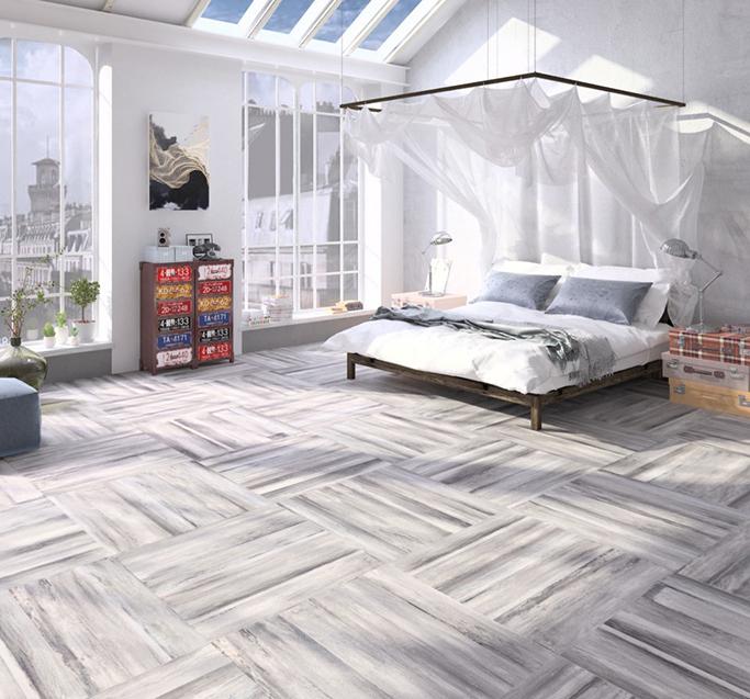 Paintwash Grey Wood Effect Floor Tiles