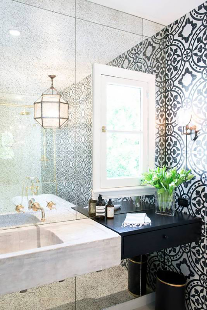 black and white bathroom with moroccan style tiles