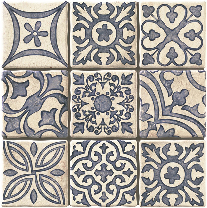 Duomo Monza Blue Encaustic Look Tiles