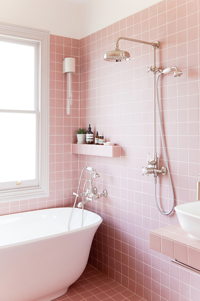 pink tile bathroom eclectic geometric 5 great ways to use geometric tiles 13976