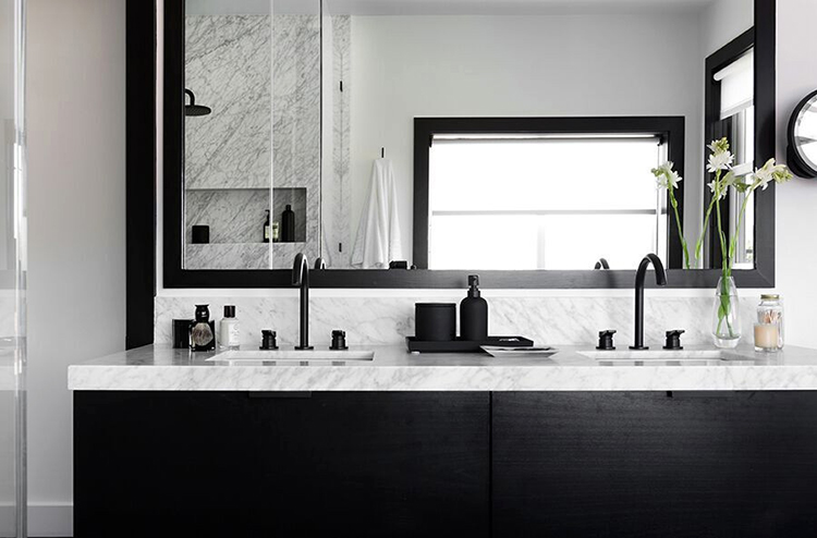 Black and Marble Bathroom Renovation