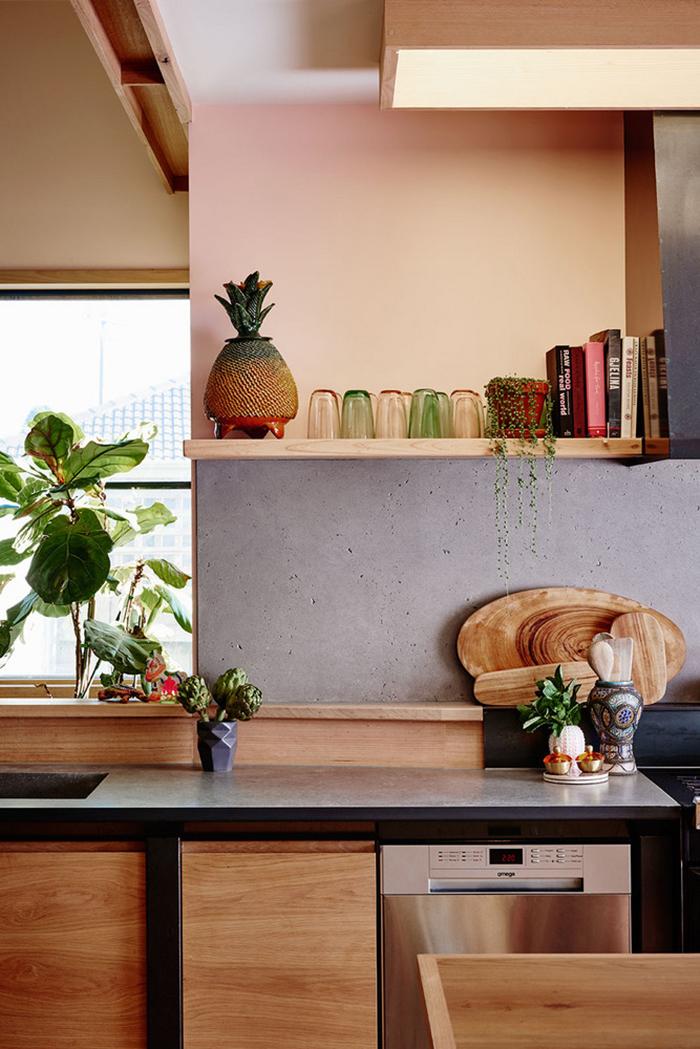 Concrete backsplash in kitchen