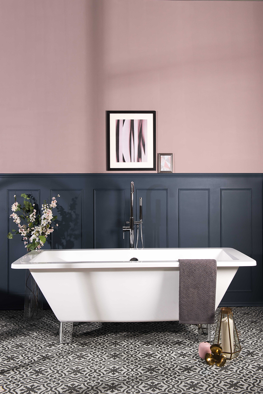 free-standing tub in blue and pink bathroom