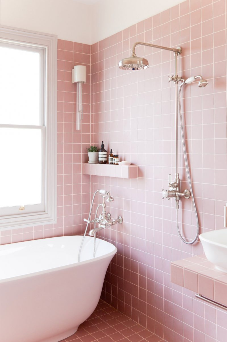 Pink bathroom with square tiles
