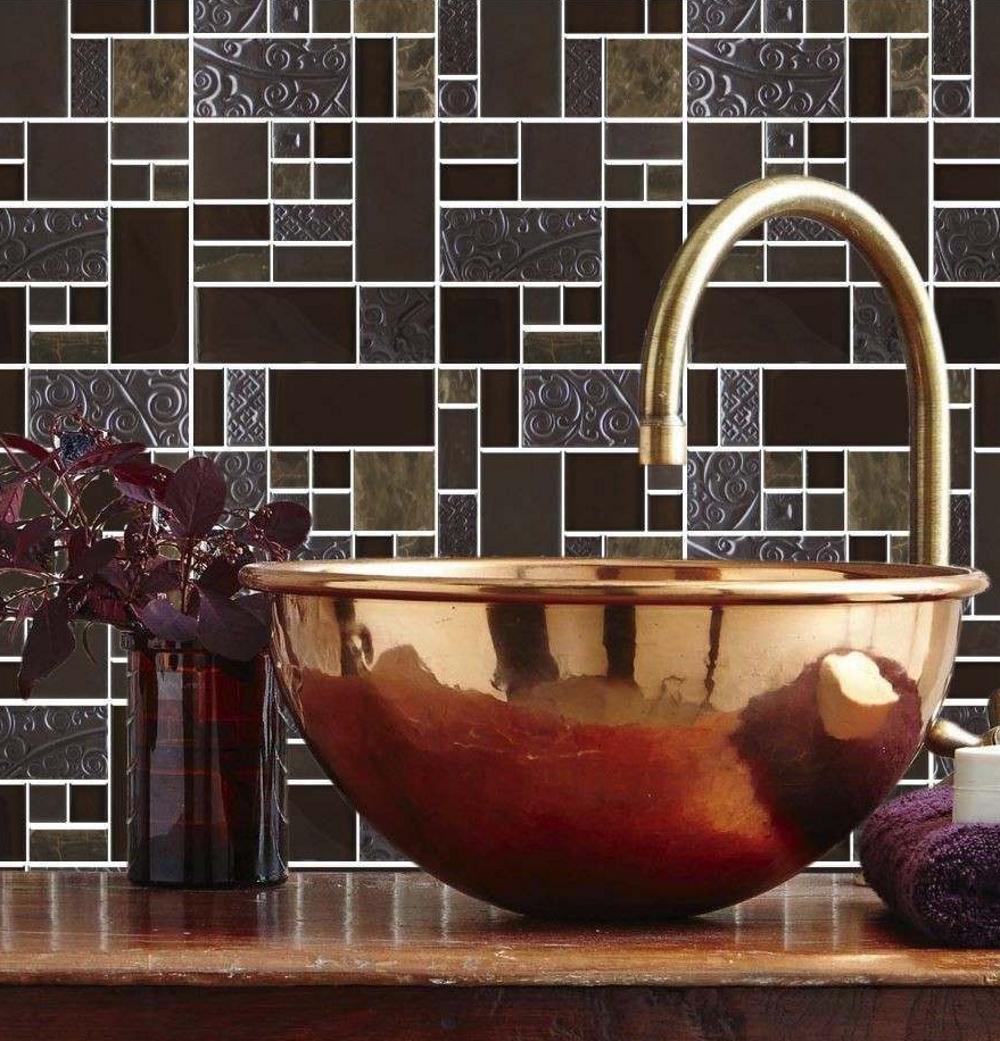 Nice Marron Stoneglass Mix Mosaic by Tile Mountain