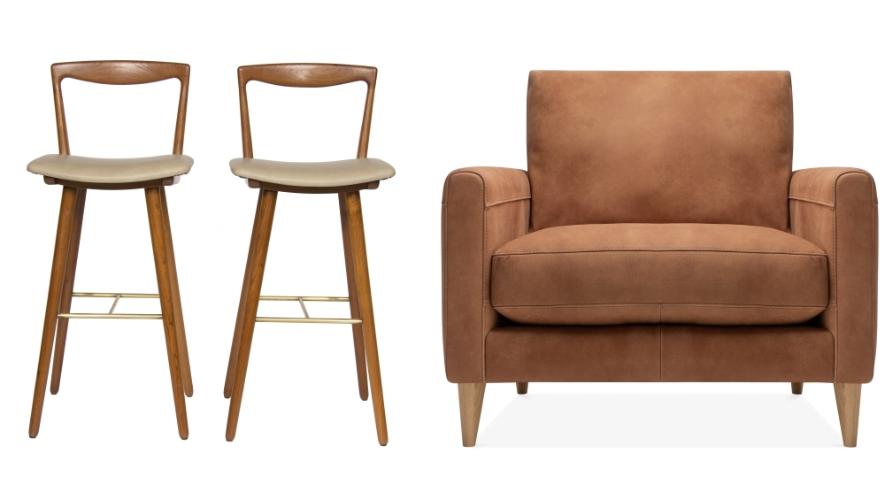 Teak, leather and brass stools by The Old Cinema | Lennox arm-chair by Cult Furniture