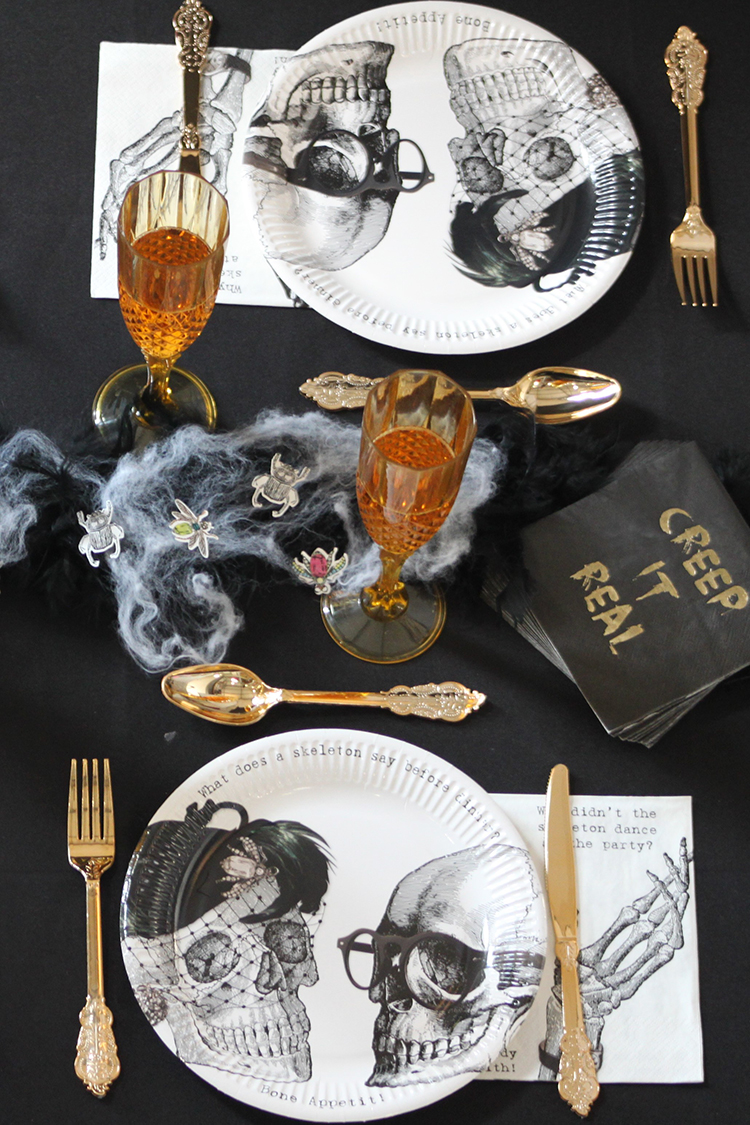 Talking Tables Halloween lace Settings Skeleton Crew Plates Napkins Party Porcelain Gold Cutlery Flutes Lifestyle