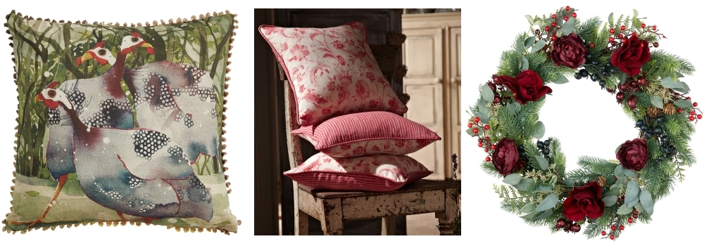 Three Birds Cushion by HomeSense | Tuileries and Pinstripe fabrics in Tearose by ILIV | Fruits & Flowers Floral Wreath by John Lewis