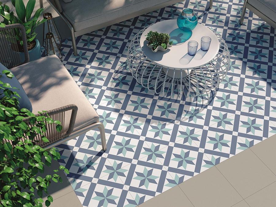 Hanoi Star Blue Floor Tiles | Tile Mountain