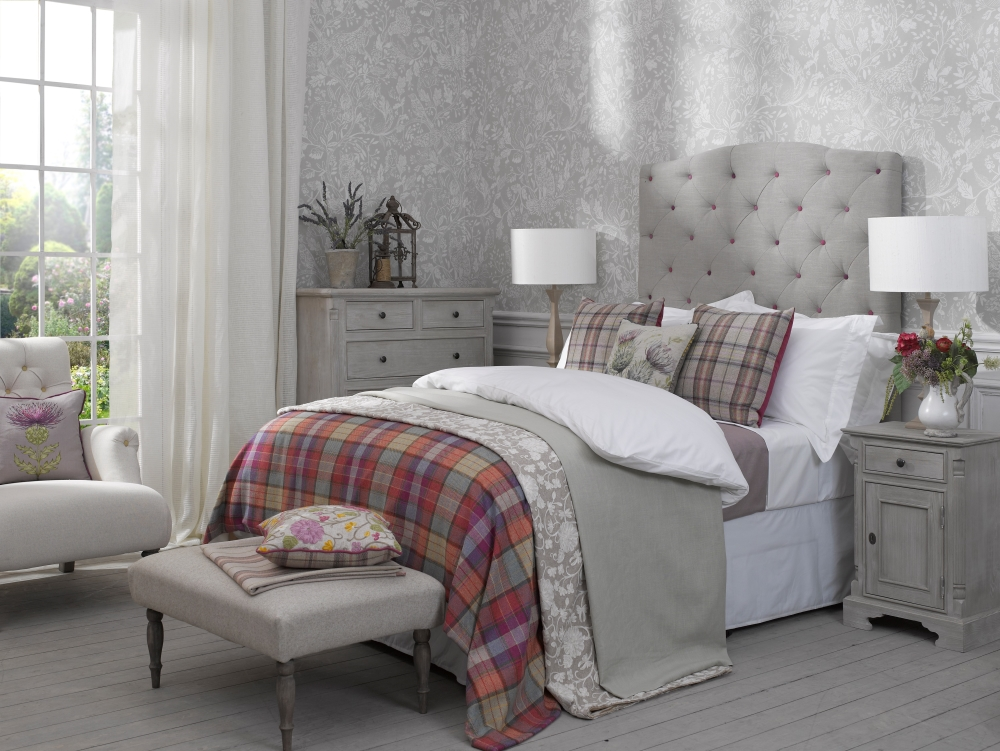 Thistle & Plaid Scatter Cushions and Buttoned Headboard | Voyage Mission