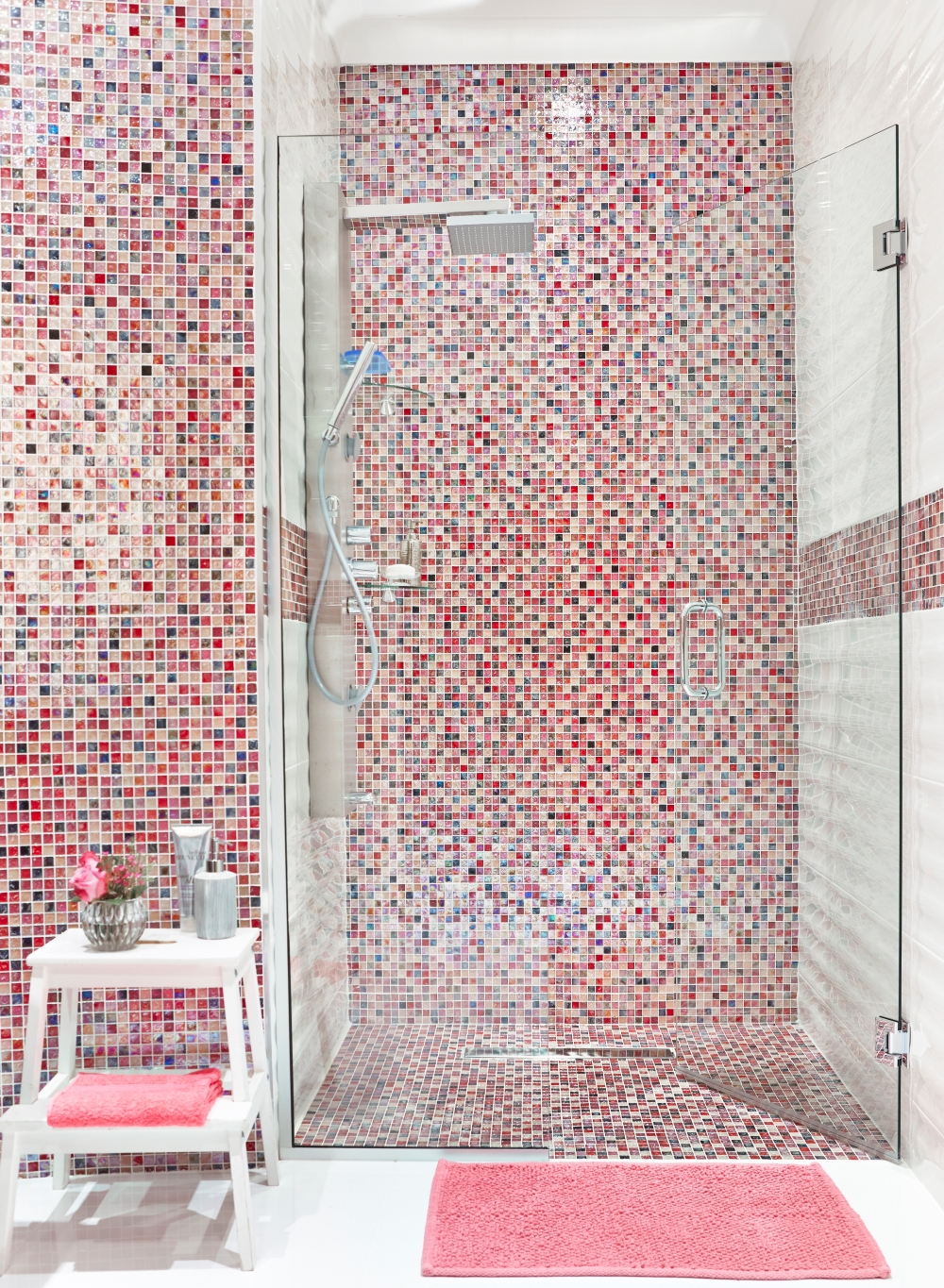 Hammered Pink Mix Glass Mosaic 20x20 | Tile Mountain