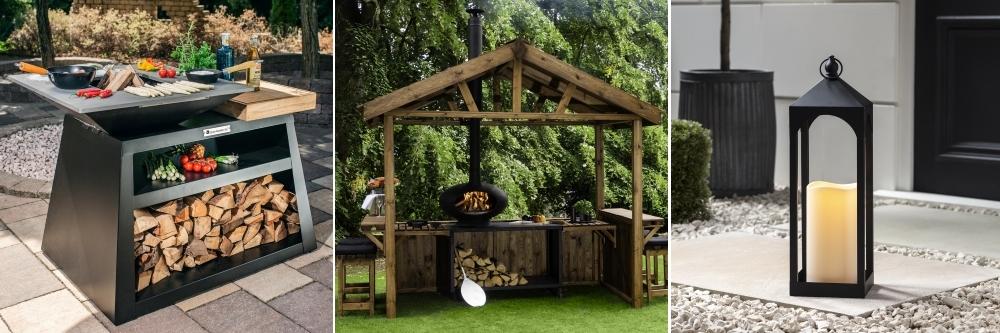Quan Wood-Fired Outdoor Cooking Centre from Garden House Design | MorsøHutCombination | Slate Grey Garden Lantern from Lights4Fun