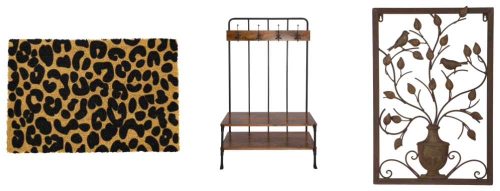 Leopard Spots Doormat by Red Candy | Cooper Hall Stand by Atkin & Thyme | Garden Vase Metal Wall Art by Farthing