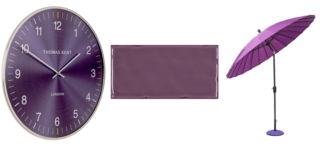 Oyster Amethyst Thomas Kent Clock by Hurn & Hurn | Hampton Purple by Tile Mountain | Purple Geisha Parasol by Cuckooland