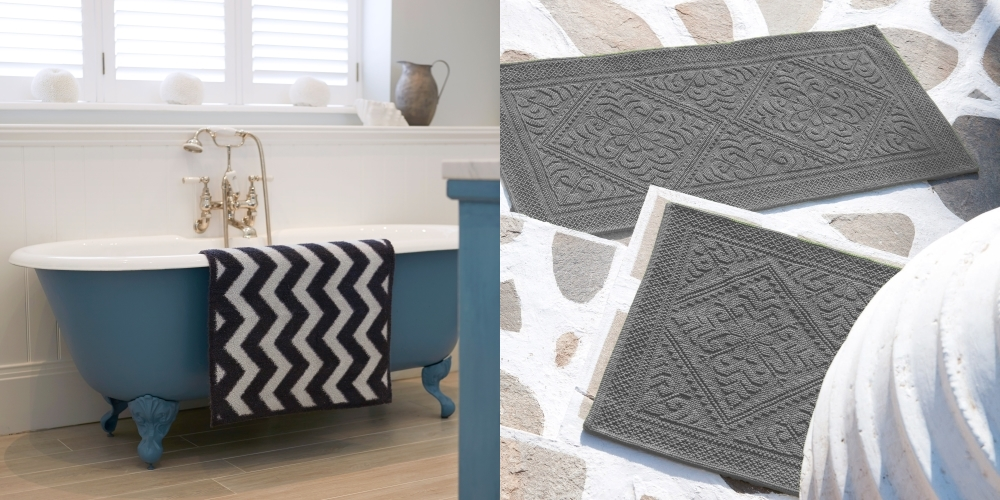 Chevron Turtle Mat from Hurn & Hurn | Souris Textured Cotton Bathmat from Abode Living