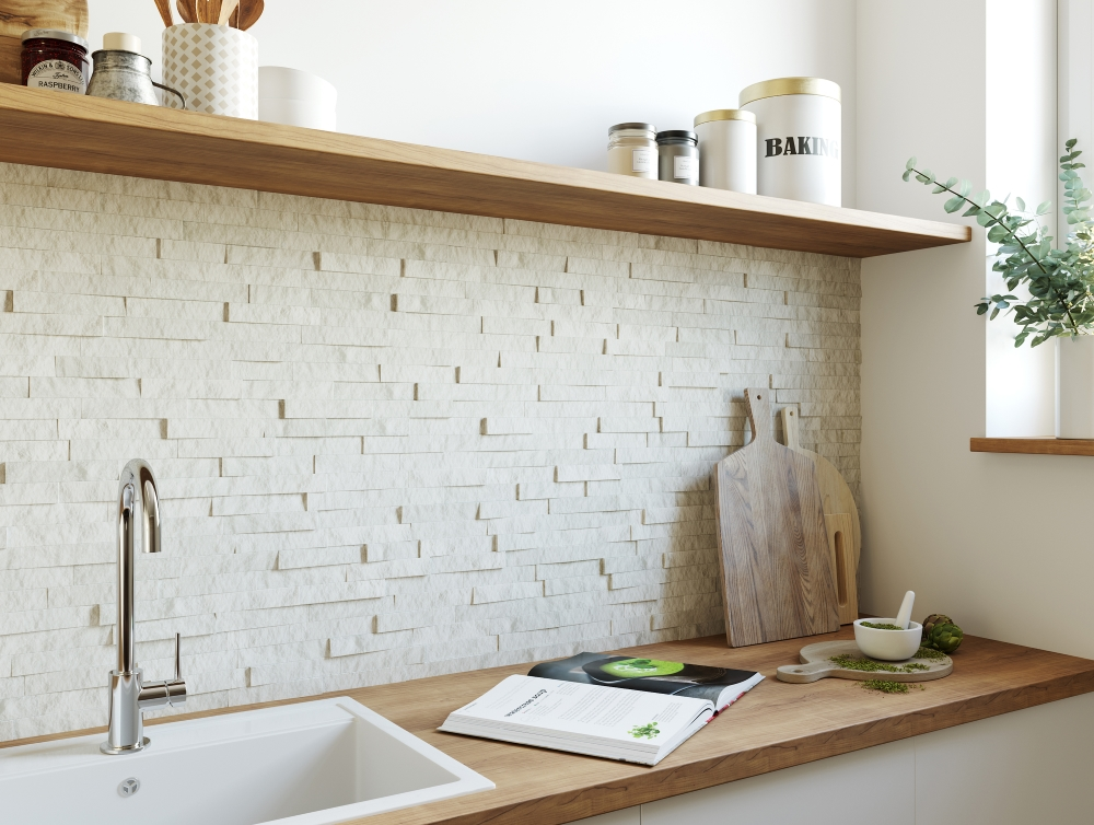 Sparkle White Split Face Mosaic | Tile Mountain