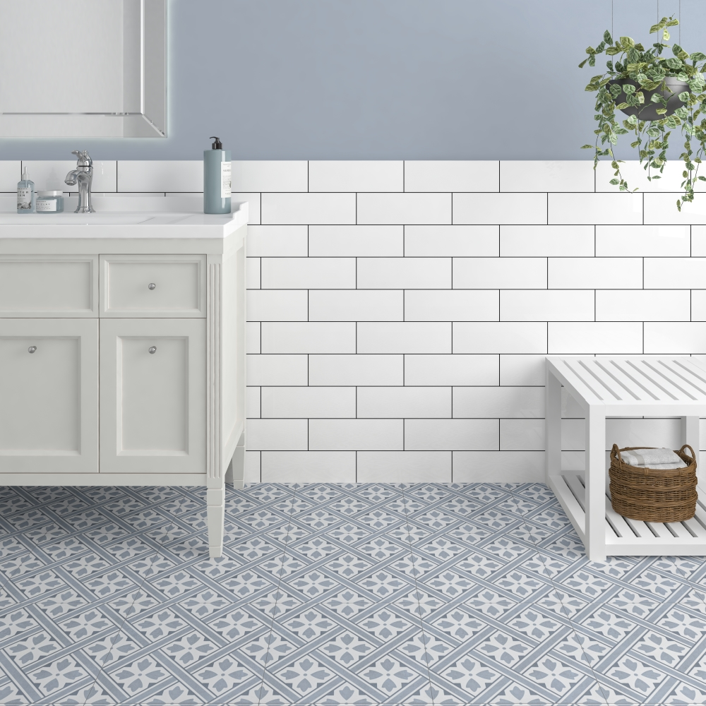 Mr Jones Azure Blue Pattern | Tile Mountain