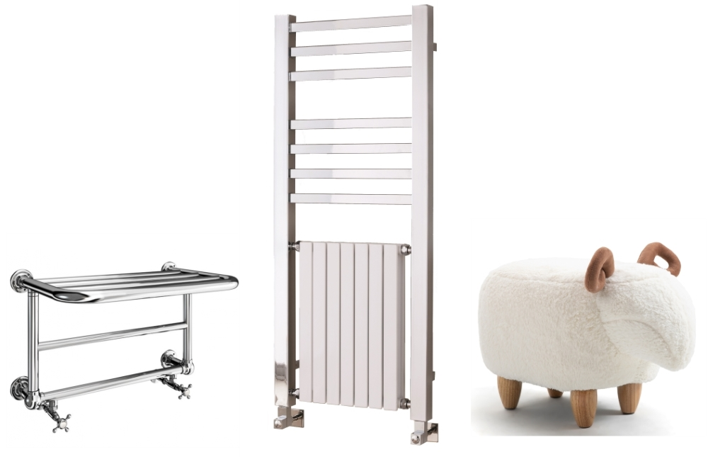 Pure Bathroom Collection Heated Towel Rail by SmithsBriten | Contemporary Quadrate Harmonique Radiator by Vogue Radiators | Sandy The Sheep Footstool by Red Candy