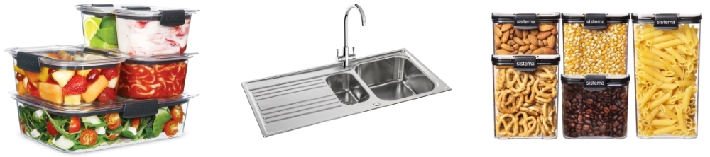 Brilliance Storage System from Sistema | Rapid 1.5 Bowl Stainless Steel Sink from Carron Phoenix | Ultra Storage System, also from Sistema