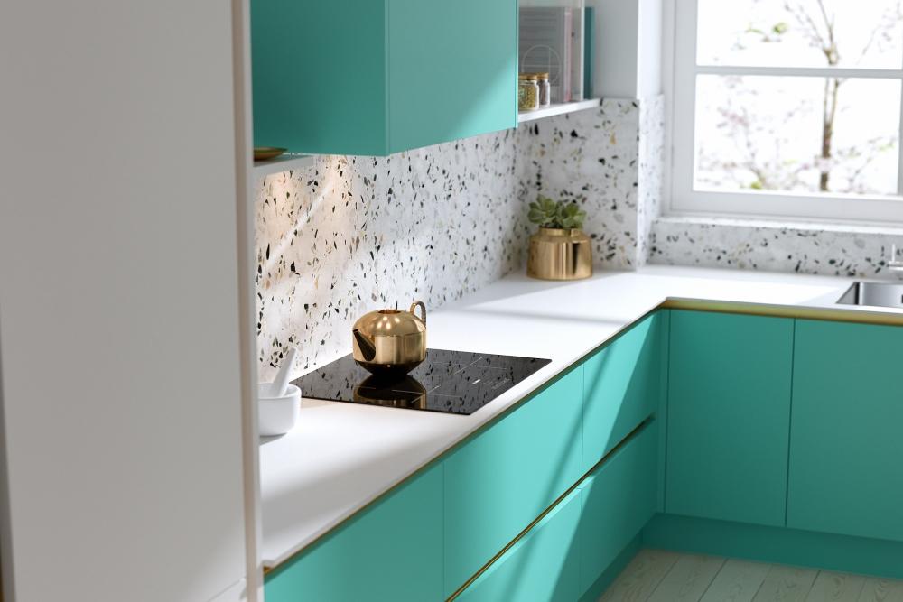 Milano Contour Ermine kitchen in Spearmint | Infinity Plus range by Wren Kitchens