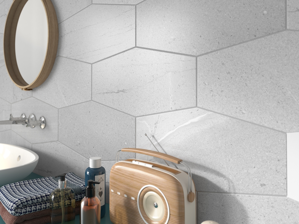 Stone Cut Hexagon Grey | Tile Mountain