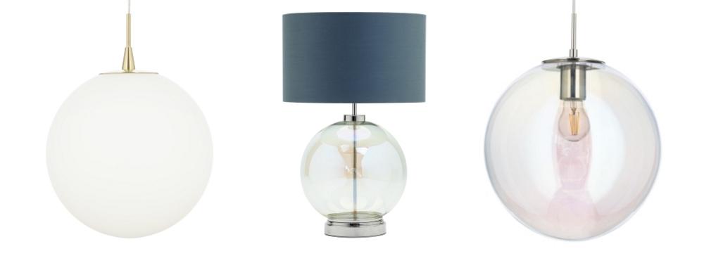 Hol Opal Glass Sphere Ceiling Pendant   Metro Iridescent Glass Sphere Table Lamp   Petro Iridescent Glass Ceiling Pendant all from BHS