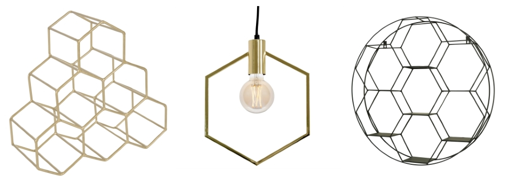 A by Amara Hexagonal Wine Rack | Hexagon Gold Pendant Light by French Bedroom Company | Black Round Metal Wall Shelf by Melody Maison