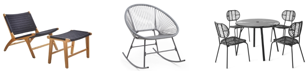 Maram Armchair & Footstool from Sweetpea & Willow | Lightweight Grey Rattan Rocking Chair from Von Haus | Swara Graden Chair & Table Set from Made.com