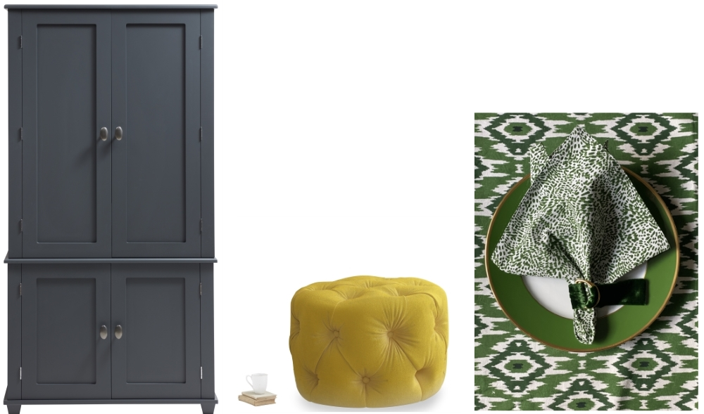 Bruton Home Office Armoire from The Dormy House | Gumdrop Pouffe in Bumblebee Clever Velvet from Loaf | Wild Child Napkins from Setting Pretty