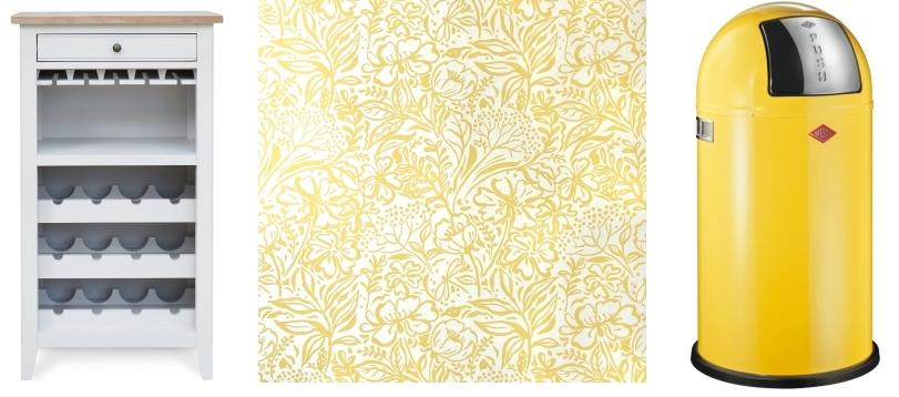 Farmhouse Grey Wine Rack from Greenway Furniture | Summer Meadow Wallpaper by Fiona Howard | Push Boy Binvia Wesco