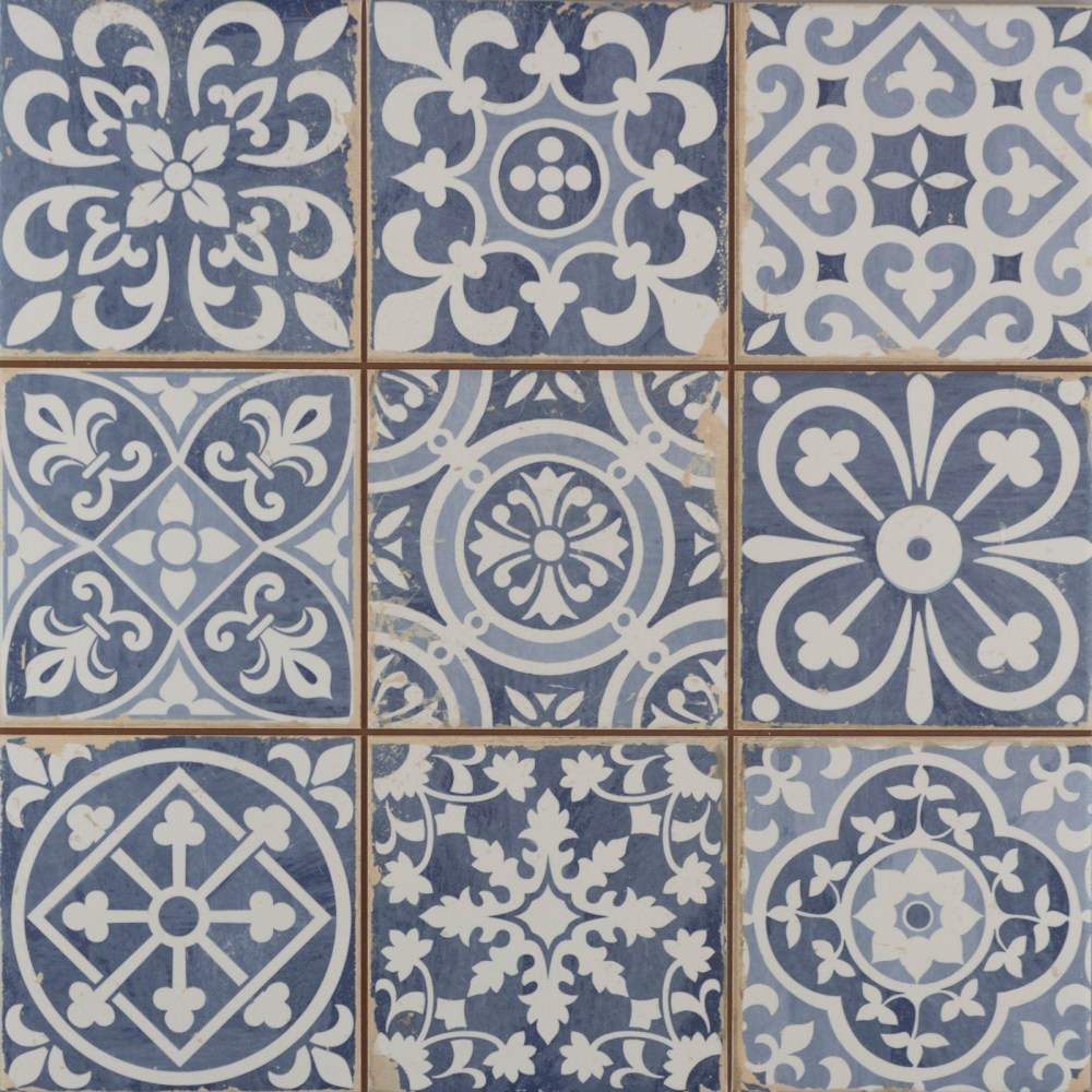 Faenza Rustic Blue Patterned Matt | Tile Mountain