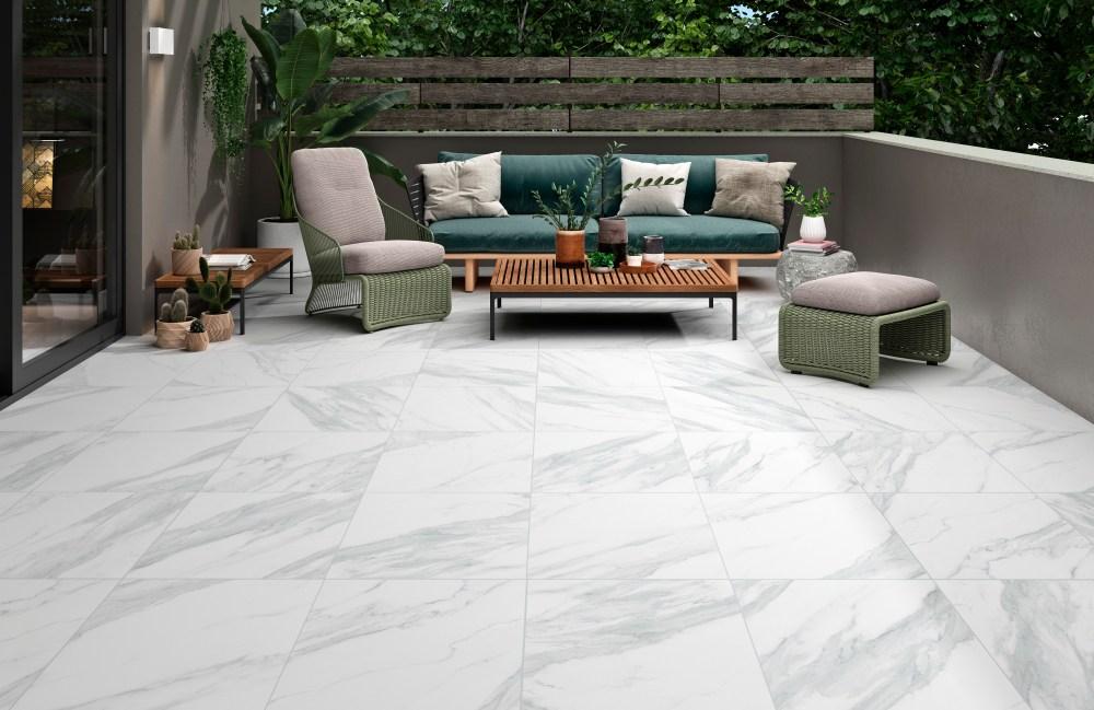 Carrara Marble White Outdoor Slab Tiles | Tile Mountain