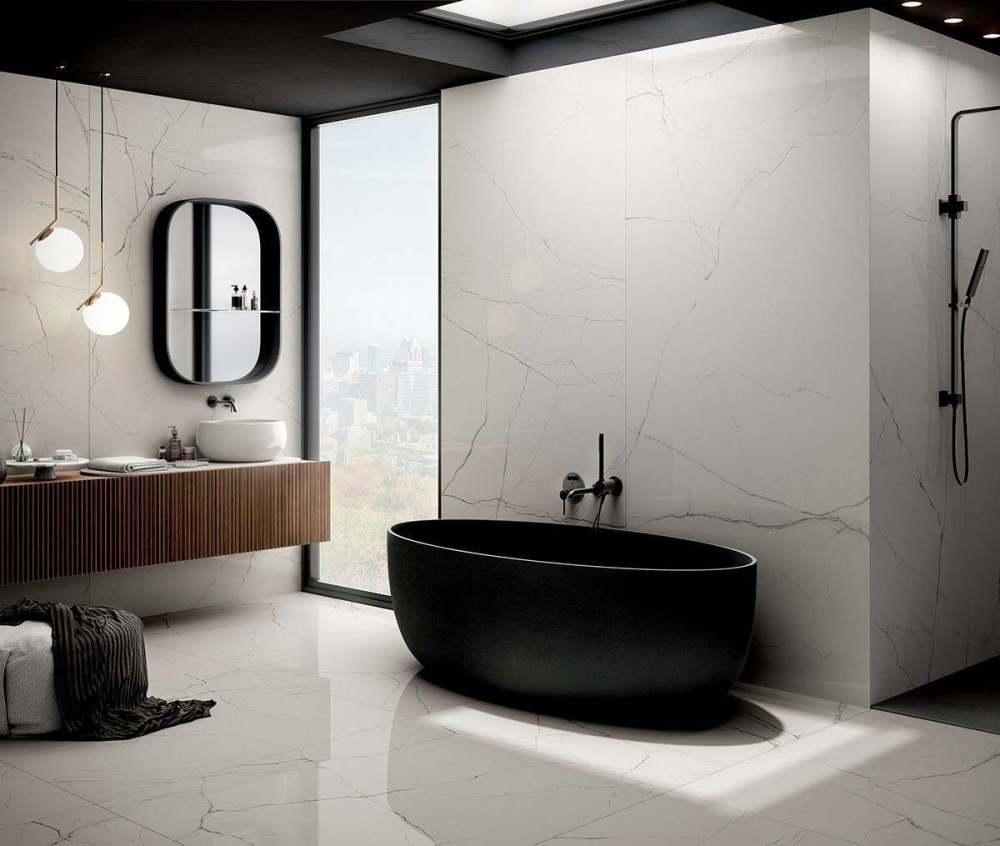 The Room White Polished Porcelain   Tile Mountain