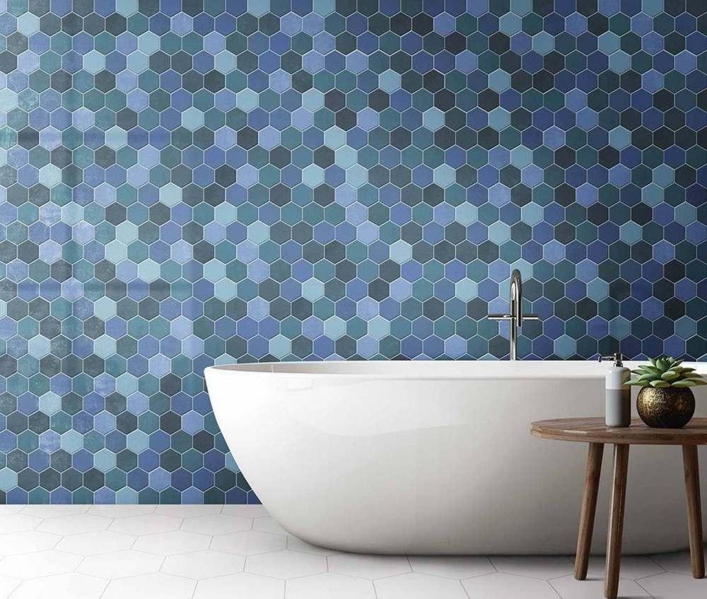 Hexagon Blue Mix | Tile Mountain