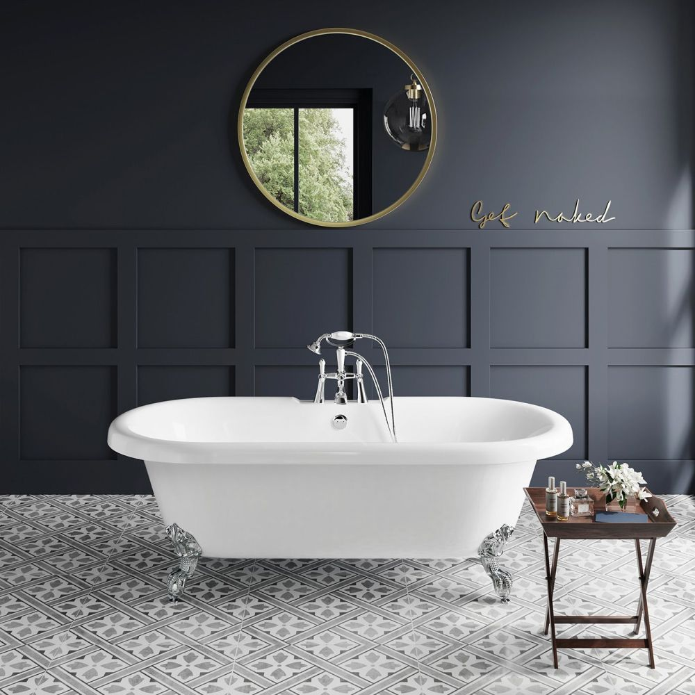 Grosvenor 1700mm Roll Top Bath - Chrome Ball Feet | Bathroom Mountain