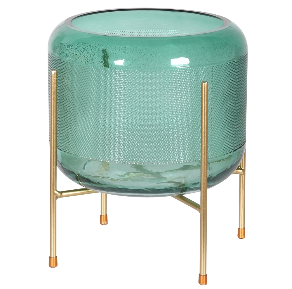 Green Glass Plant Pot on Stand   Audenza