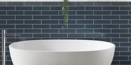 Florida Tile's Emotive shown here in Pride Blue Glossy