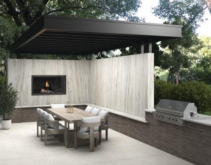 Daltile's Pegasus White Adorns an Outdoor Kitchen/Dining Setting