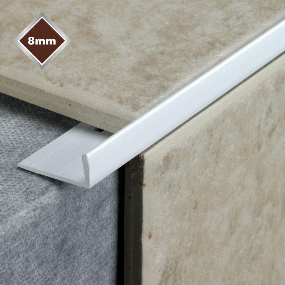 8mm white l shaped pvc tile trim