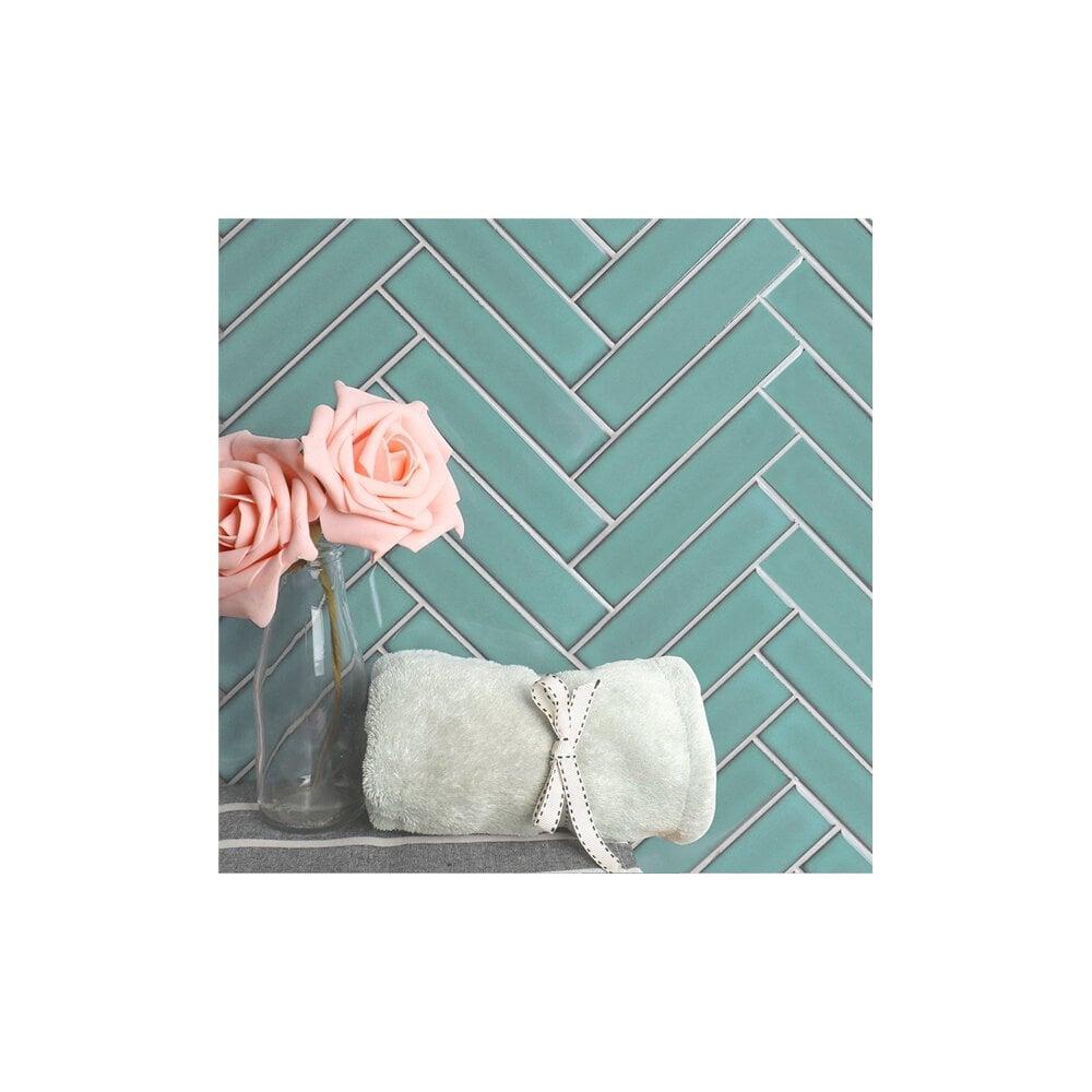 herringbone mint green matt 20 9cm x 24 7cm 3 2cmx 14 5cm wall mosaic