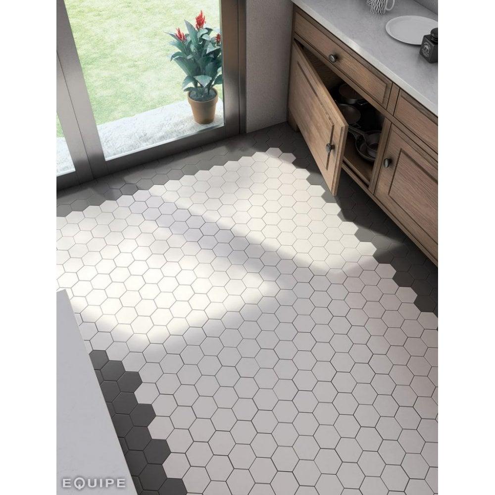 hexagon black matt 11 6cm x 10cm porcelain floor tile