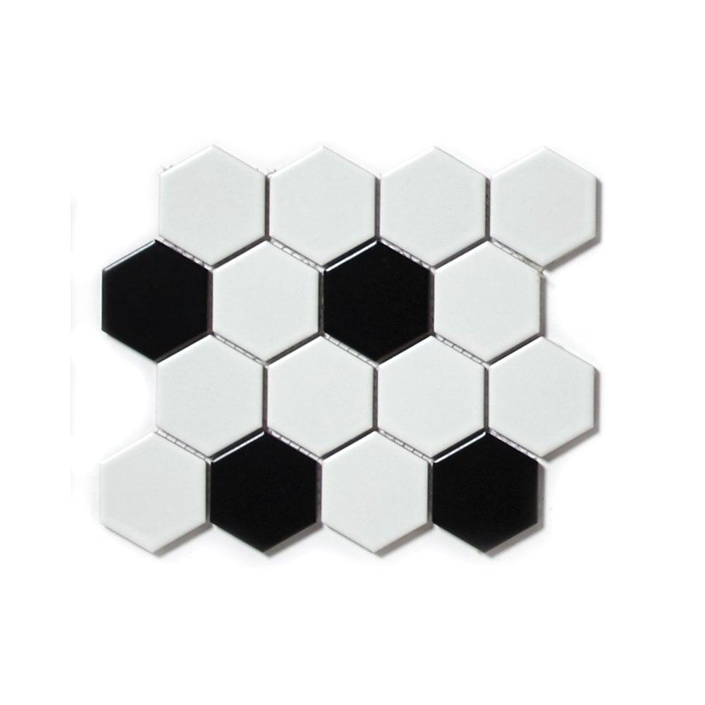 hexagon matt black white mix 4 8cm x 4 8cm 21 7cm x 18 7cm mosaic tile