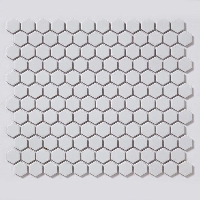 hexagon matt white 2 3cm x 2 3cm 30cm x 26cm mosaic tile