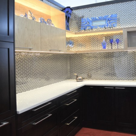 Zebra Metal Mosaic installed as a backsplash