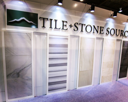 Tile and Stone Source sign and displays at the Calgary Home + Design Show