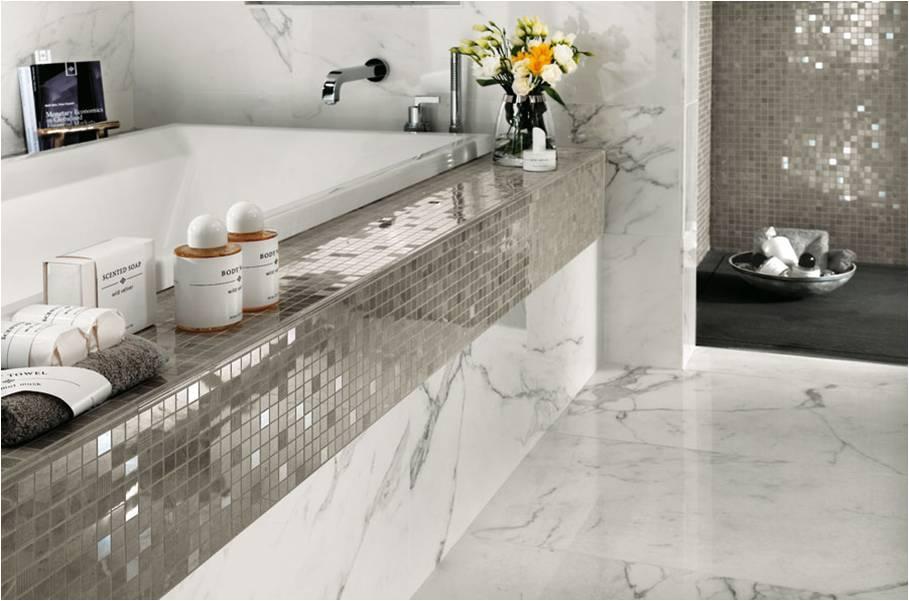 Marble Imitation Calacutta X installed in a bathroom