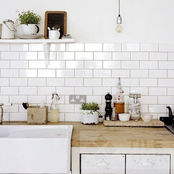 Trusley White Kitchen Wall Tile