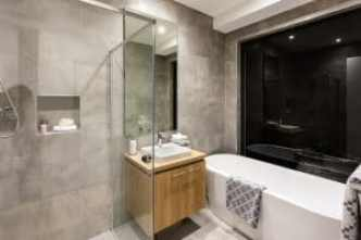 Curbless shower tile installation and design