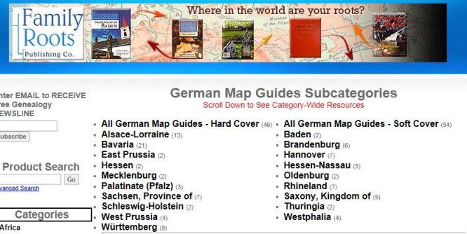 Utrag fra FamilyRottsPublishing - oversikt over kartbøker fra Tyskland