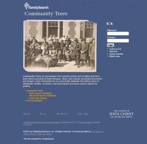 """FamilySearch Community Trees"""" - SØKESIDE"""